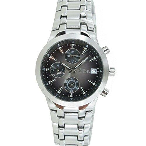 s. Oliver Men's Quartz Watch with Black Dial Analogue Display Quartz Chronograph Steel/MCR