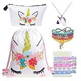 DRESHOW Unicorn Gifts for Girls Mochila con cordón/Maquillaje/Colgante Collar/Pulsera Pulsera / 5 Lazos para el cabello Set Unicornio Fiesta de los niños