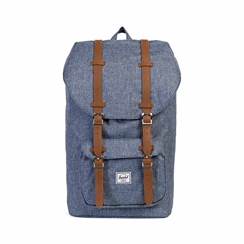 2f95d4013b Herschel Little America Dark Chambray Crosshatch Tan Synthetic Leather