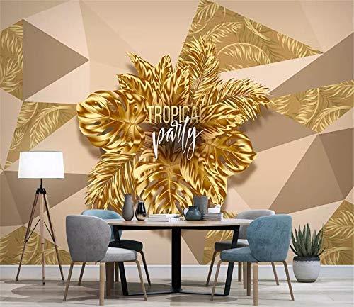 CHTTERY 3D wallpaper Stereoscopic Plant golden Blätter TV Hintergrund Wandbild Wohnzimmer Schlafzimmer Tapeten Wohnkultur, 430x300 cm (169.3 by 118.1 in)