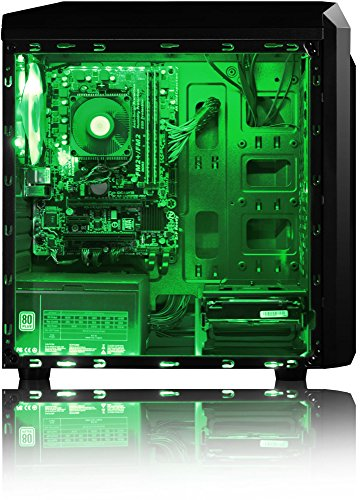 VIBOX Killstreak LA4-104 Gaming PC – 4,1GHz AMD A6 Dual-Core APU, Desktop Gamer Computer mit Spielgutschein, Windows 10, Grün Innenbeleuchtung, lebenslange Garantie* (3,9GHz (4,1GHz Turbo) superschneller AMD A6-6400K Dual-Core-APU / CPU-Prozessor, 16GB DDR3 1600MHz RAM, 2TB (2000GB) SATA III 7200rpm Festplatte, 400W 85+ Netzteil, CIT F3 Grün Gaming Geh§use, Asrock FM2+ A68M Mainboard) - 4