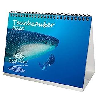 Tauchzauber DIN A5 Tischkalender 2020 Unterwasser und tauchen Geschenk-Set: Zusätzlich 1 Grußkarte und 1 Weihnachtskarte - Seelenzauber