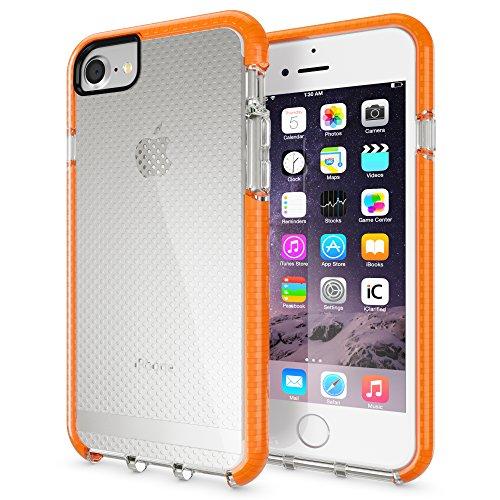 Apple iPhone 6 6S / 7 / 8 Universal-Hülle Schutzhülle von NICA, Durchsichtige Handyhülle Transparente Rückseite & Farbiger Bumper, Slim Silikon Case Handy-Tasche Smartphone-cover, Farbe:Orange Orange