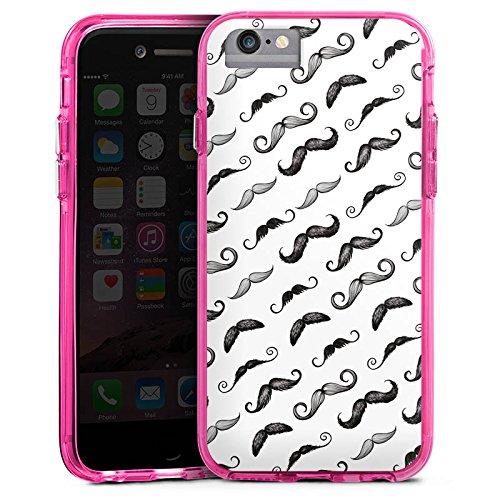 Apple iPhone 6s Bumper Hülle Bumper Case Glitzer Hülle Black White Schwarz Weiss Pattern Bumper Case transparent pink