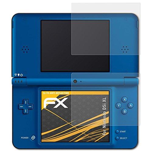 atFoliX Schutzfolie für Nintendo DSi XL Displayschutzfolie - 3er Set FX-Antireflex blendfreie Folie