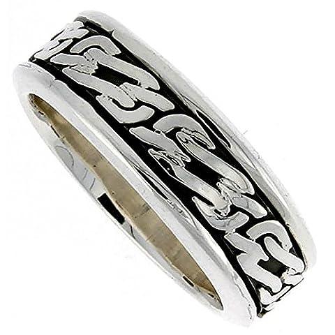 Sterling Silver Men's Spinner Ring Celtic Knot Design Handmade, Size P