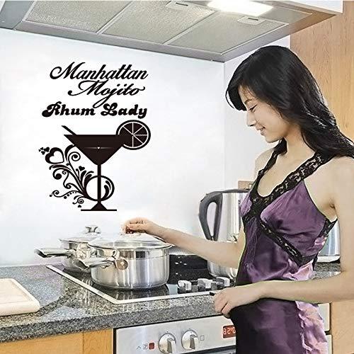 yiyiyaya Rench Cuisine Cocktail Vinyl wandaufkleber Applique wandbild wandkunst küche barfliesendekoration Haus dekoration35 * 55 cm (Halloween Cocktails Für Kinder)
