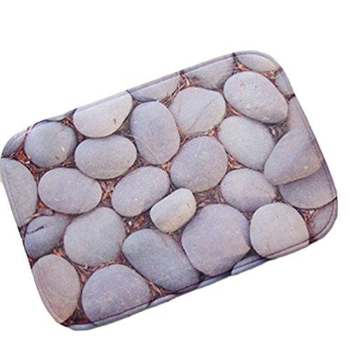 YOUJIA Türmatte Schmutzabstreifer Fußmatte Kopfsteinpflaster Muster Badematten Antirutsch Sauberlaufmatte (Stein #7, 40 * 60cm)