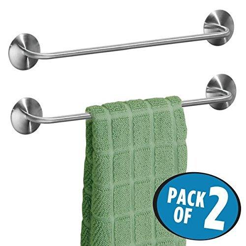 mDesign Juego de 2 toalleros de baño sin taladro – Toallero adhesivo...