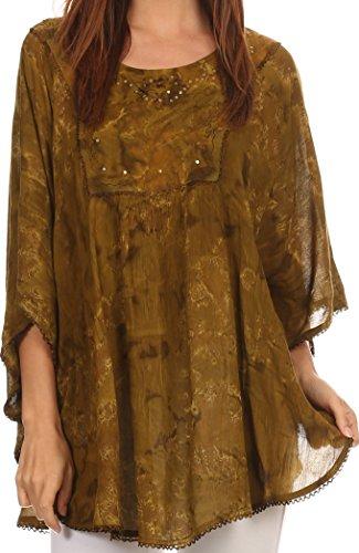 6 Damen Designer Bluse (Sakkas 16031 - Cleeo lange, breite Krawatten-Spitze gestickte Sequin Poncho Bluse Top Cover Up - Olive - OS)