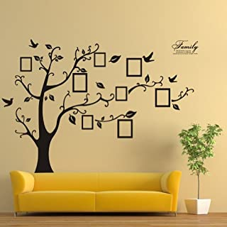 Zooarts Large Black Photo Frames 8 Frames Included On The Tree Branches And Soaring Birds (180cm*250cm)Art Wall Stickers And Faimly-Lettering Decals For Living Room, For Kids Bedroom