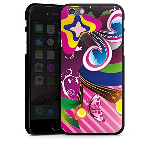 Apple iPhone 4 Housse Étui Silicone Coque Protection couleurs Ornements Fleurs CasDur noir