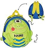 """3-D Effekt - Rucksack - """" Frosch """" - Tasche für Kinder - wasserfest & beschichtet - Kinderrucksack / groß Kind - Frösche - Jungen & Mädchen / Spider Man - z.B. für Kindergarten / Vorschule / Schule - Stofftasche Tagesrucksack - Kindertagesstätte Kita - grün blau - Kindergartenrucksack Kindertasche"""