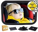 XXL Spiegelset - Rücksitzspiegel für Babys - Autospiegel Baby - Sicherheitsspiegel für Auto Rücksitz - für Kinder in Kindersitz, Babyschale, Babysitz, Rückwärtssitz, Bruchsicheres Spiegel Set