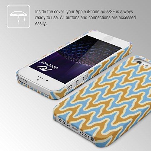 Urcover® Colorful Edition Hülle | Apple iPhone SE / 5 / 5s 4 Zoll | Kunststoff Stars Design | Trendy Zubehör Tasche Back-Case Handy-Cover Schutz-Hülle Schale Abstract Hell Blau/Gelb