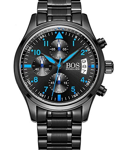BOS Sport Herren-Quarz-Uhr mit schwarzem Zifferblatt Chronograph Display und Edelstahl-Armband (Blue)