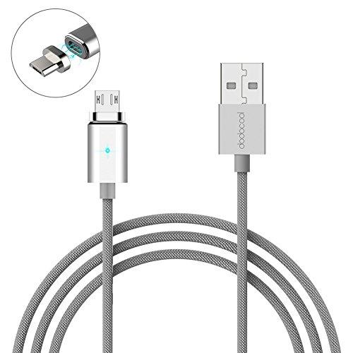 dodocool Cavo Magnetico di Ricarica USB Cavo di Dati 3.9 ft/1.2m Micro USB Carica & Cavo di Sincronizzazione con LED Indicatore Argento