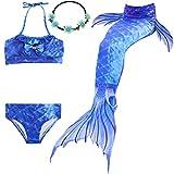 UrbanDesign Traje De Baño Disfraz Cola De Sirena Niña con Bikini para Nadar, 9-10 años, Azul de los océanos