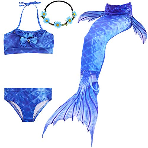 Meerjungfrau Kostüm Ozean - UrbanDesign Meerjungfrau Bademode Mädchen Meerjungfrau Badeanzug Schwanzflosse Zum Schwimmen Kostüm Für Kinder, 11-12 Jahre, Blau der Ozeane
