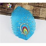 Nueva opción 2pcs / 6pcs Aprox 12 * 8 cm multi de los colores de lentejuelas de la cola del pavo real Patch Iron-on o Coser Ropa apliques 082007184 2pcs azules