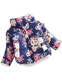 ESHOO - Abrigo para la nieve para niños y niñas, de algodón cálido, diseño floral