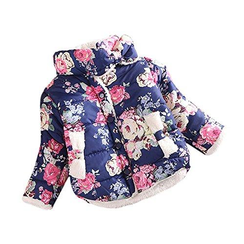 BOBORA Baby Girls Winer cotone floreale cappotto giacca a maniche lunghe spessore da 2-6Y Blue M