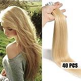 Extensiones cinta adhesiva de pelo natural #613 Blanqueador rubio 45cm - 40piezas - Tape in Remy Hair Extensions