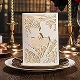 PONATIA 25 Stücke Lacer Schnitt Hochzeit Einladungen Karten mit Braut und Bräutigam Kiss TinkSky Verlobungsring Ehe Einladungen (weiß)