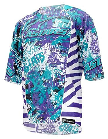 Alpinestars Men's Gravity Downhill 3/4 Short Sleeve Jersey - Violet/Blue