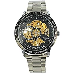 Men's Black Bezel Skeleton Dial Stainless Steel Self-Wind Up Mechanical Automatic Watch