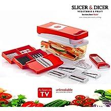 Kitchen Bazaar 13 in 1 Premium Nicer Fruit & Vegetable Chopper/Peeler- All in One (Red)