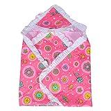 #9: SUMMER NEW BORN BABY/INFANT BABY BLANKET CUM WRAPPER SOFT CARTOON PRINTED COTTON PINK BLANKET (0-9 MONTHS)
