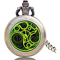"""DR WHO Luminous Green Gallifrey Timelord Seal Bronze Effect Retro/Vintage Case Full Hunter Mens/Boys Quartz Pocket Watch Necklace - On 32"""" Inch / 80cm Chain"""
