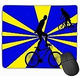 GWrix Alfombrilla de ratón Grande de Goma Gruesa Antideslizante 30X25 cm Fondo de Acrobacias en Bicicleta Silueta Personas Que andan en Bicicleta Haciendo Vintage