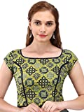 Hand Block Lime Green And Blue Ajrakh Print Cotton Blouse With Gota Detail