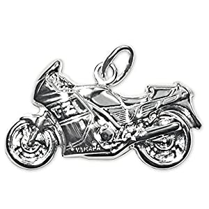 Clever Jewellery Set Silver Motorbike Pendant Plastic Glossy on Both Sides and Curb Chain 42cm 925Silver by CLEVER SCHMUCK