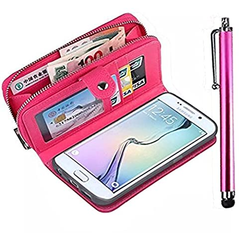 (2014 Version) Galaxy A5 Wallet Case,Vandot Galaxy A5 Wallet Purse Case PU Leather Zipper Case with Money Pocket Credit Card Slots and Magnetic Detachable Slim Cover Case for Samsung Galaxy A5 A5000-Rose Red+Stylus Pen