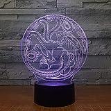 Dtcrzjxh Dragon Totem 3D Luz Led Juego De Trono Recuerdo Grabado Acrílico Lámpara Nocturna Con 7 Colores Control Remoto Táctil