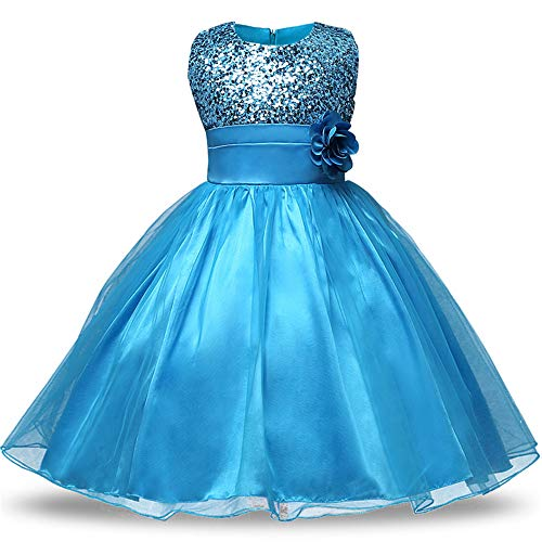 Chengzuoqing Prinzessin Kleider Mädchen Brautjungfer Kleid Pailletten Party Prom Geburtstag Kleid Kinder Kleidung Spitzenkleid Alter 1-10 Jahre Kleine Mädchen Kostüm (Color : Blue, Size : 160 cm)
