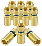 Poppstar 10x SAT Quick Mount Stecker, Kompressionsstecker für Koax Kabel (RG58 RG59 Koaxialkabel (bis 7,5mm), Witterungsbeständig, vergoldet