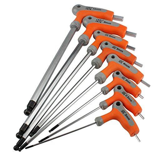 ntschlüssel Sattelschlüssel T-Griff mit Kugelkopf CR-V 2-10mm NLJBS-01 (2+2.5+3+4+5+6+8+10mm) ()