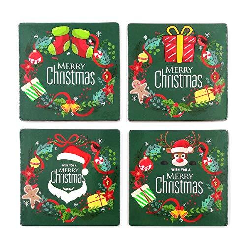 Weihnachts-Untersetzer, Untersetzer für Getränke mit lebendigen Farben und Kork-Unterseite, verhindert Schmutz und Kratzer, 4 Stück