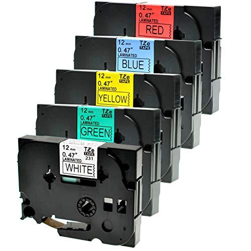 Logic-Seek 5 Schriftbänder kompatibel für Brother TZE231-TZE731 12mm P-Touch 1000W 1830 2730 D200 7100 2100 2030 1830 7600 VP 2430 1230 9700 PC 1090 2470 1290 Schwarz auf Blau/Rot/Gelb/Grün/Weiss