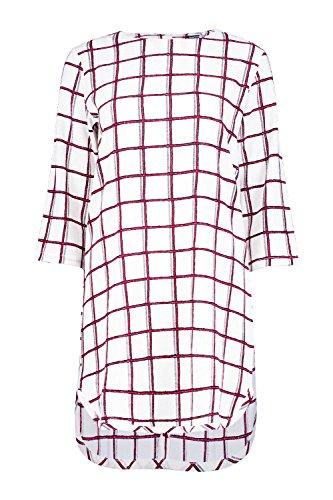 blanc Femme Charlotte Check 3/4 Sleeved Shift Dress Blanc