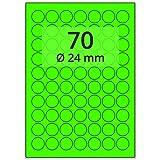 Labelident farbige Etiketten leuchtgrün - Ø 24 mm - 7000 Farbetiketten auf 100 Blatt, Papieretiketten DIN A4 selbstklebend, bedruckbar