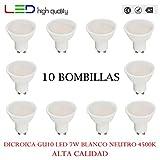 LED dicroica (pack 10 unidades) 7W 110º Blanco neutro 4500K GU10 500lm 220V-240v Alta calidad