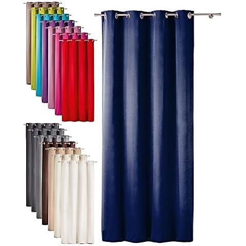 Tenda decorativa Rideau con pratiche asole - design moderno e tessuto opaco - 140x260 cm - blu