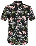 SSLR Herren Flamingos Blumen Freizeit Aloha Hawaii Hemd (Medium, Schwarz)