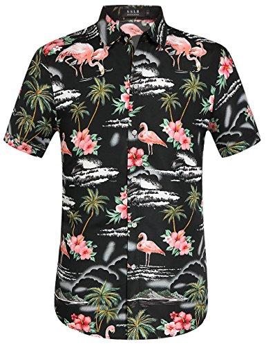 SSLR-Camisa-Hawaiiana-Hombre-Casual-Estampado-de-Flamingos-y-Flores-Large-Negro