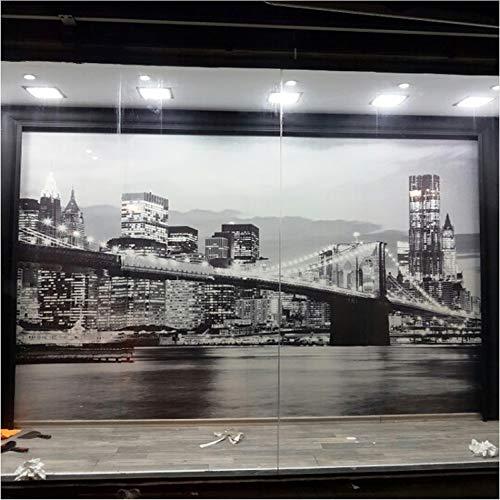 zhimu Papier Peint Murale Murale Vue de Nuit Pont de Manhattan New York Villes européennes et américaines Noir et Blanc Salon Toile de Fond Papier Peint Personnalité créative150cmx105cm